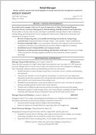 Student Resume Examples First Job by Retail Sales Manager Resume Retail Manager Resume Template