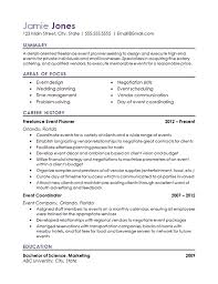 Resume Examples For Food Service event coordinator resume example hospitality industry