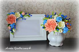 Flowers Home Decoration Beautiful Photo Frame With Handmade Flowers Home Decoration