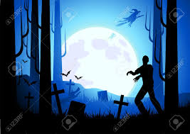 halloween themed background with witches and zombies vector