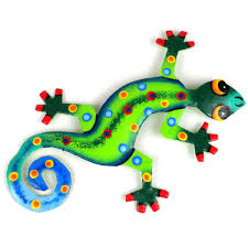 Patio Accents by Talavera Painted Metal Gecko Wall Art Deck U0026 Patio Accents