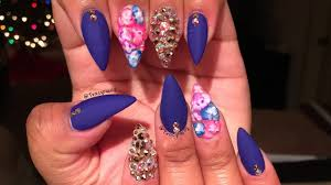 ombre flowers u0026 mixed bling acrylic nails youtube
