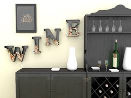 Metal Decorative Letters Home Decor Amazon Com Wine Letter Cork Holder Art Wall Décor Metal All 4