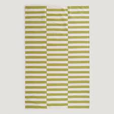 Green And Beige Rug Green And White Stripe Dhurrie Rug World Market
