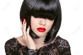 makeup fashion bob haircut hairstyle long fringe short hair