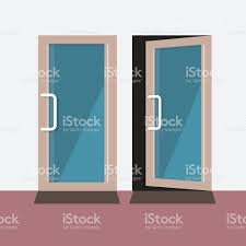 Keyhole Doorway by Close And Open Door Vector Illustration Stock Vector Art 520216685