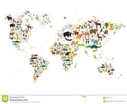 Kids World Map Cartoon Animal World Map For Children And Kids Animals From All