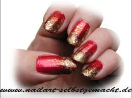 sponge nail art tutorial red gold easy step by step ombre nail