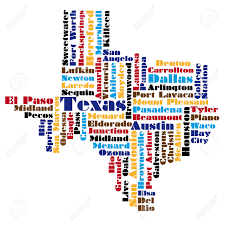 Texas Map Outline Abstract Word Cloud Based Map Of Texas Usa Royalty Free Cliparts