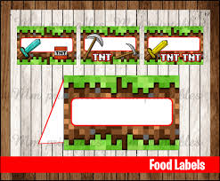 minecraft food tent cards instant download printable minecraft