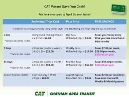 fares u0026 discounts chatham area transit cat