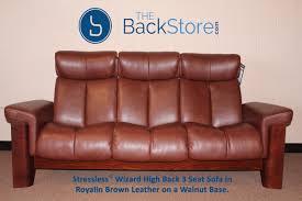 stressless wizard 3 seat high back sofa royalin brown color