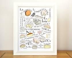 kitchen art french cheeses home decor art print 8x10