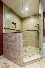 travertine cobblestone floor on the shower and large porcelain
