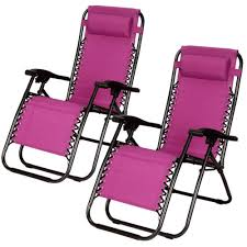 2 zero gravity folding lounge chairs w drink holder beach patio