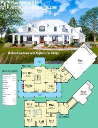 Modern Style Garage Plans Plan 62668dj Modern Farmhouse With Angled 3 Car Garage
