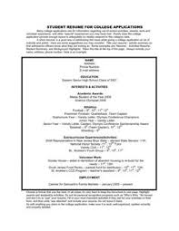 Application Resume Example by 12 High Resume Examples For College Admission Sample
