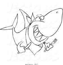 vector of a cartoon hungry shark coloring page outline by