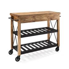 Kitchen Island Carts On Wheels Roots Rack Natural Industrial Kitchen Cart Crosley Furniture