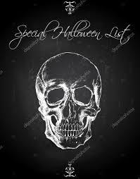 skull ink drawing over chalkboard background halloween list