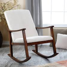 furniture brown wooden rocking chair frame using white