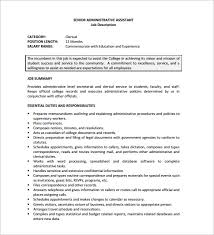 Secretary Job Description For Resume by 12 Administrative Assistant Job Description Templates U2013 Free