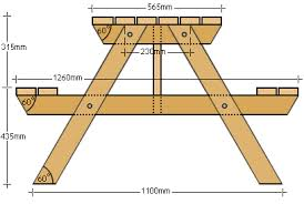 Building Plans For Picnic Table Bench by Buildeazy Projects 4 Seater Picnic Table Metric Version