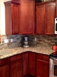 Airstone Backsplash In Kitchen Autumn Mountain Maple Cherry - Kitchen backsplash ideas dark cherry cabinets