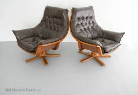 Leather Rocker Recliner Swivel Chair Mid Century Armchairs X2 Danish Deluxe Leather Swivel Rocker