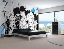 Bedroom Interiors Cute Black White Graffiti Mural Teen Bedroom Interior Design Idea
