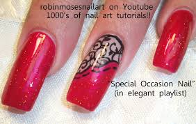 black red gradient with stamped accent nail art april 2013 4 29