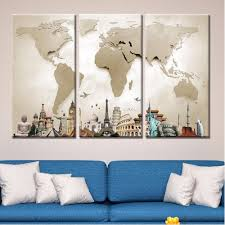 World Map Canvas by Modern Hd 3 Piece Canvas World Map Gaia Stock Com