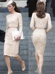 kate middleton short lace evening dresses 2015 scoop long sleeves