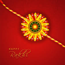 Indian Flower Design Creative Glowing Rakhi On Floral Design Decorated Red Background