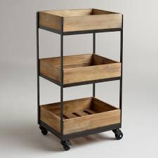 Kitchen Carts On Wheels by 3 Shelf Wooden Gavin Rolling Cart Bathroom Essentials