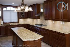 Kitchen Backsplash Cherry Cabinets by Dark Cabinets With New Venetian Gold Granite And Tumbled Marble