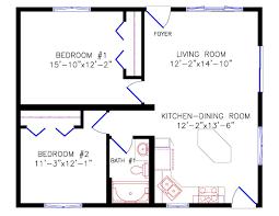 2 Bedroom 1 Bath Floor Plans Cottage