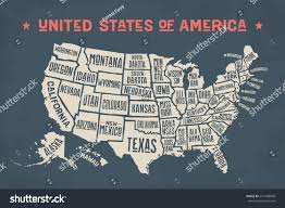 Map Of America With States by Poster Map United States America State Stock Vector 591448040