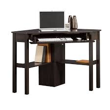 corner study desk black swivel office chair triangle glass top