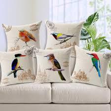 european hand painted cartoon bird rural pillowcase home