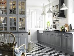 Dark Grey Cabinets Kitchen Minimalist Kitchen Decoration Chees Pattern Flooring Light Gray