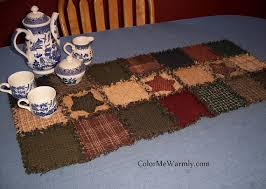 Quilted Table Runners by Rag Quilt Table Runner Colonial Primitive Colors By Colormewarmly