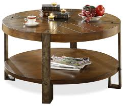 Round Wooden Table Top View Riverside Furniture Sierra Round Wooden Coffee Table With Metal