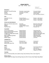 Actor Resume Commercial Resume Dance Audition Resume