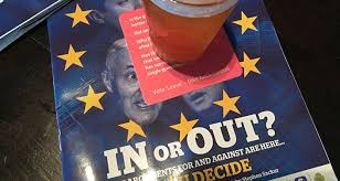 Brexit May Cause Domino Effect Throughout EU   Swedish Foreign     Brexit themed beermats and magazines in JD Wetherspoon     s pub  Edinburgh  Scotland
