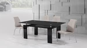 Black Glass High Gloss Dining Table And  Mink Grey Chairs - Black dining table for 4