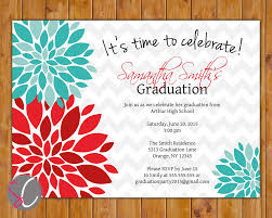 Invitation Cards For Graduation 2017 Graduation Party Invitation Red Teal Blue Floral Flower
