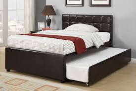 black leather full size bed frame with trundle and padded