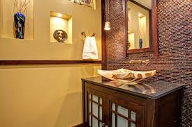 bathroom brick look asian inspired powder room accent wall