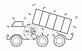dump truck connect the dots coloring pages for kids dot to dots